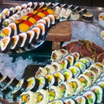 Vegetable and fish sushi