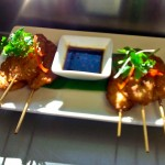 Bread crumbed chicken satay with soy sauce dipping