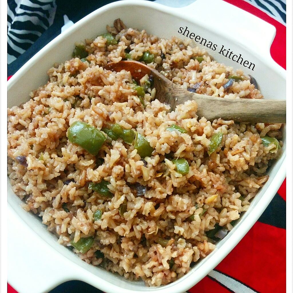 Brown Rice in Octopus stock