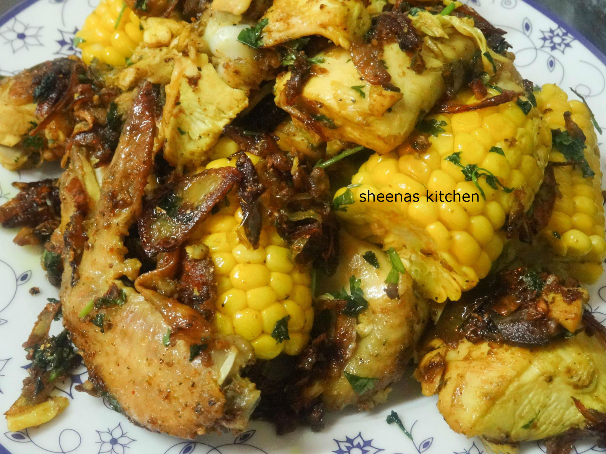 Dry fry chicken masala with Corn