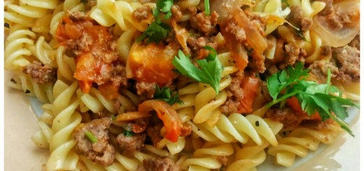close up pasta mince meat