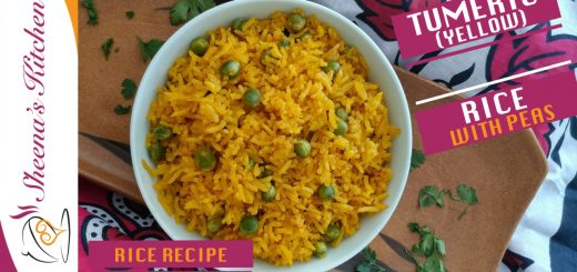 Turmeric rice with Peas-yellow rice-Sheenas kitchen